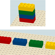Multi-colored lego blocks, stacked together and spread out separately.